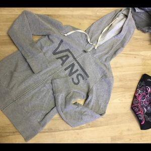 Vans medium size hoody, grey zip front,